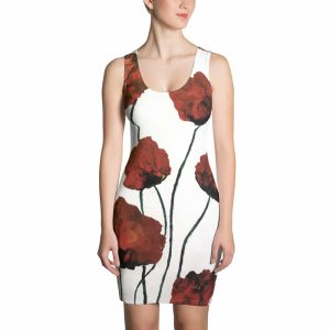 Red Poppies Bodycon Dress